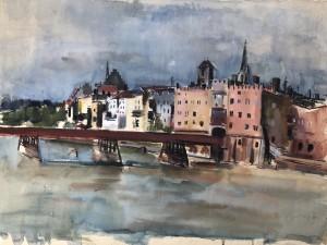 Wasserburg am Inn - Frontpartie mit Innbrücke ⋅ 1944 Image