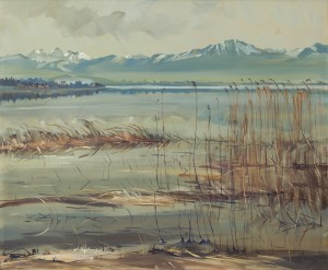 Schilfgürtel am Chiemsee bei Seebruck ⋅ um 1925 Image
