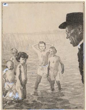 """Der Ketzer (""""Weißt du denn nicht, daß es eine schwere Sünde ist, nackt zu baden?"""" - """"Naa, i bin ja protestantisch Herr Pfarrer!"""") ⋅ 1924 Image"""