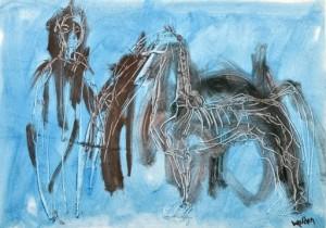 Mann mit Pferd auf Blau ⋅ um 1965 Image