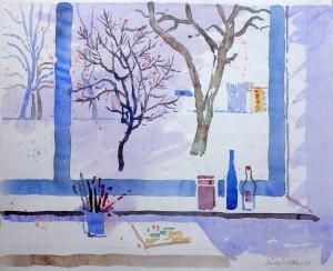 Blick aus dem Atelierfenster in den winterlichen Garten ⋅ 1986 Image