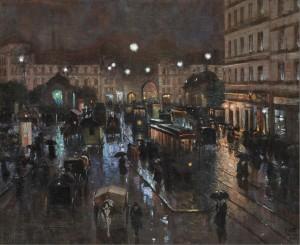 Der Stachus in München bei Nacht ⋅ 1908 Image