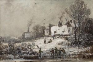 Winterliches Dorf mit Kindern auf dem Eis ⋅ um 1880 Image