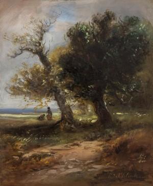 Landschaft mit alten Eichen ⋅ um 1865 Image