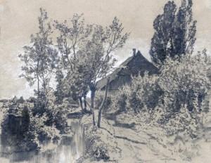 Bachlandschaft mit Gehöft Image