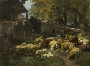Schafherde mit Schäfer an der Friedhofsmauer ⋅ um 1877 Image