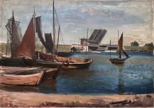 Holländischer Hafen mit Zugbrücke und Fischkuttern Image