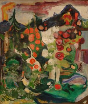 Föhn über dem Blumengarten ⋅ um 1960 Image