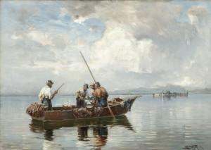 Ein guter Fang (Chiemseefischer betrachten einen gefangenen Hecht) ⋅ 1921 Image