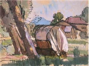 Zigeunerwagen unter Bäumen ⋅ um 1955 Image