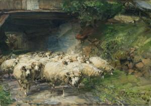Schafherde auf dem Weg durch die Durchfahrt am Wolkenhof im Murrhardt ⋅ 1920 Image