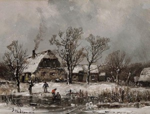 Winterlandschaft mit spielenden Kindern auf dem Eis ⋅ um 1885 Image