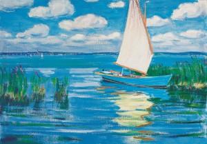 Segelboot im Schilf ⋅ um 1955 Image