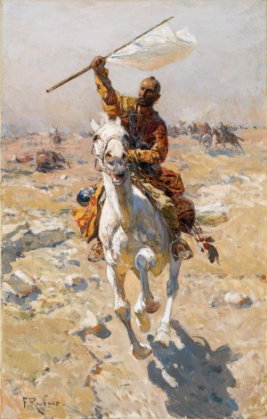 Galoppierender Kosake mit erbeuteter Fahne ⋅ um 1900 Image