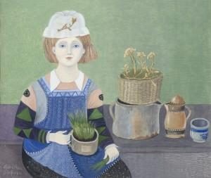 Mädchen mit Schnittlauch (mit echten Blüten) ⋅ 1982 Image