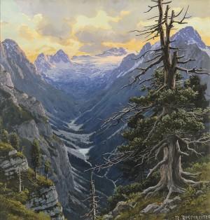 Blick vom Königsschloß am Schachen auf die Zugspitze und Reintal gegen Abend ⋅ um 1920 Image