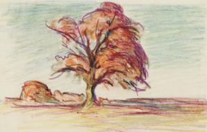 Einsamer Baum im Herbstkleid Image
