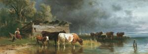 Hirtin mit Kühen am Seeufer ⋅ 1877 Image