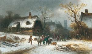 Schneeballschlacht in Oberföhring ⋅ um 1870 Image