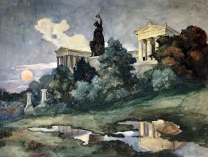 Sonnenuntergang an der Bavaria und Ruhmeshalle in München ⋅ um 1935 Image