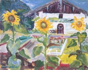 Bauernhof mit Sonnenblumen ⋅ um 1940 Image