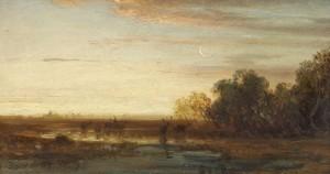 Abendlandschaft mit Hirschen und Mondsichel ⋅ um 1860 Image