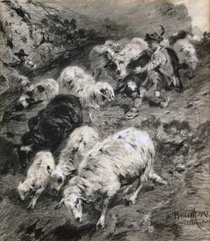 Hirten und Schafe im Gebirge ⋅ 1902 Image