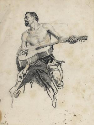 Gitarre spielender Kosake ⋅ um 1890 Image
