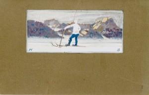 Postkarte mit farbiger Zeichnung an die Eltern ⋅ 1913 Image