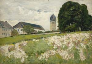 Frauenchiemsee - Klosterwiese mit Kirchturm ⋅ 1926 Image