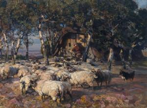 Heidschnuckenherde in der Abendsonne vor dem Koben in der Lüneburger Heide ⋅ 1907 Image