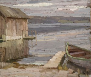 Bootshütte und Ruderboot am See Image