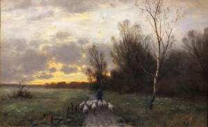 Schäfer mit seiner Herde bei Sonnenuntergang ⋅ um 1880 Image