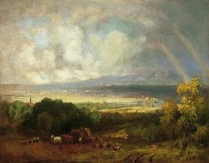 Chiemseelandschaft mit Regenbogen ⋅ um 1863 Image