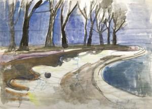 Vorfrühling am Chiemsee (Die Schären in Prien-Stock) ⋅ Rückseite: gezeichnete Landkarte einer Studienreise ⋅ 1951 Image