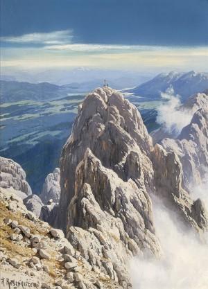 Blick von der Dreitorspitze im Wetterstein mit dem Panorama von Walchensee und Benediktenwand bis zum Isartal ⋅ um 1917/20 Image