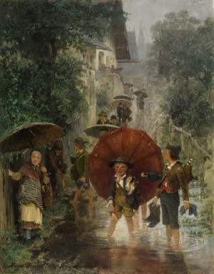 Nach der Schule (Kinder im Regen) ⋅ 1874 Image