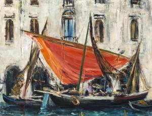 Chioggia - Rotes Segel mit blauem Fenster ⋅ um 1953 Image