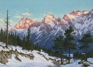 Winterliche Abendstimmung am Karwendel ⋅ 1935 Image