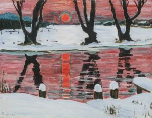 Sonnenuntergang am Überseer Bach ⋅ 1958 Image