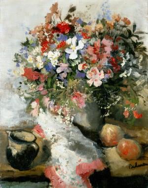 Bunter Blumenstrauß mit Krug und Äpfeln ⋅ um 1945 Image