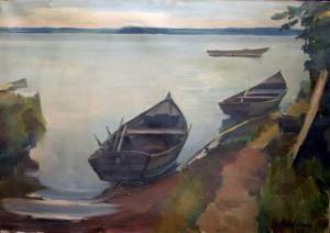 Kähne am Ufer der Fraueninsel ⋅ 1925 Image