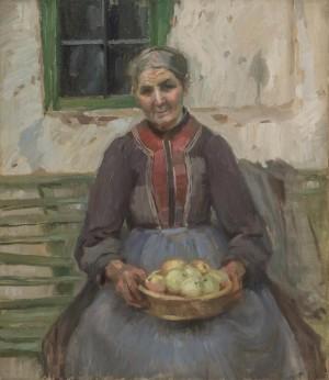 Alte Bäuerin mit Äpfel Image