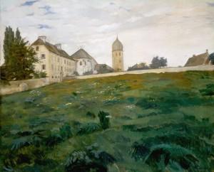 Frauenchiemsee, Klosterwiese mit Kirchturm III ⋅ 1891 Image