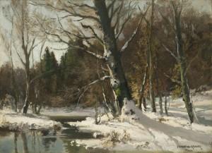 Sonnig beschienener Bachlauf im Winter ⋅ um 1925 Image