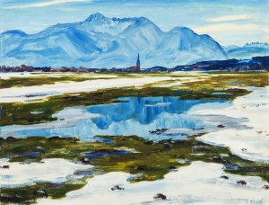 Schneeschmelze im Alpenvorland (Übersee mit Hochgern) ⋅ um 1960 Image