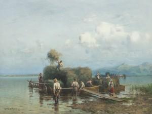 Heuschiffe am Chiemsee ⋅ um 1899 Image