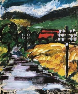 Straße mit Strommasten ⋅ 1948 Image