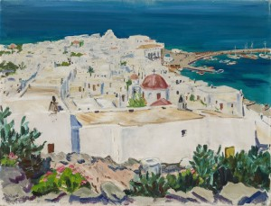 Mykonos mit Hafen ⋅ um 1955 Image
