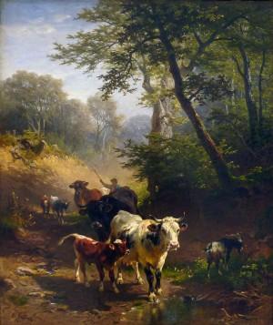 Hohlweg mit Vieh ⋅ um 1880 Image